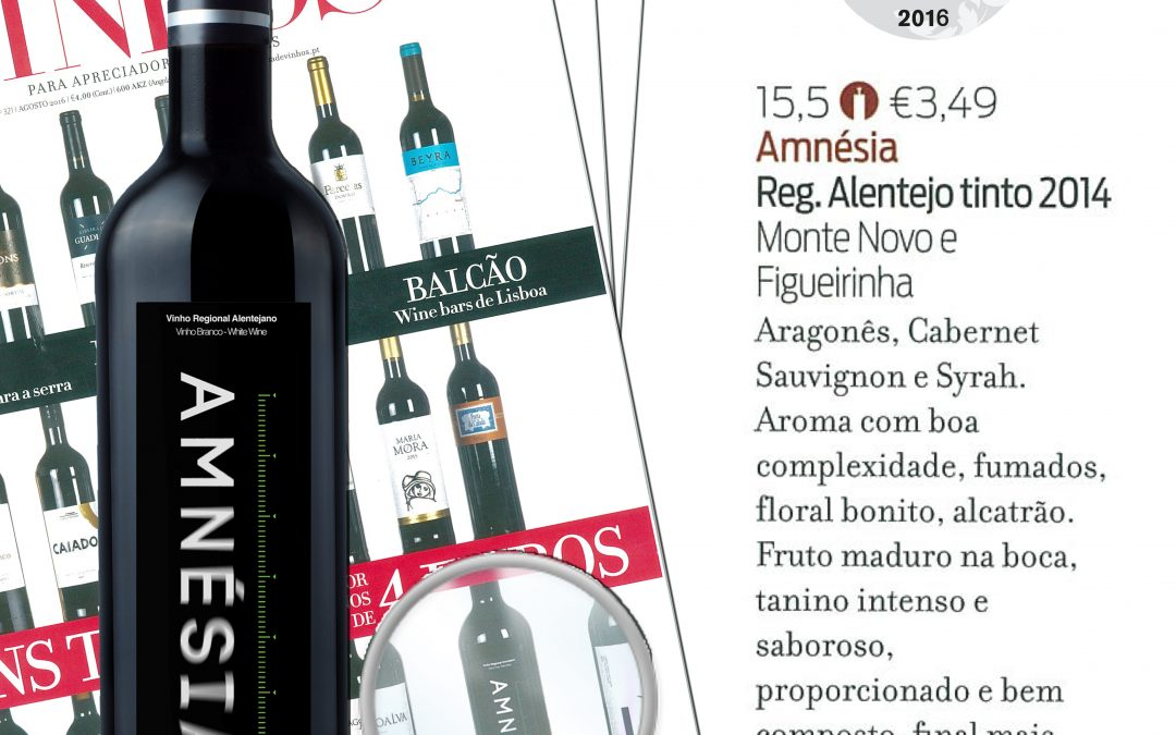 "Amnésia Red 2016 highlighted on the ""Revista de Vinhos"""
